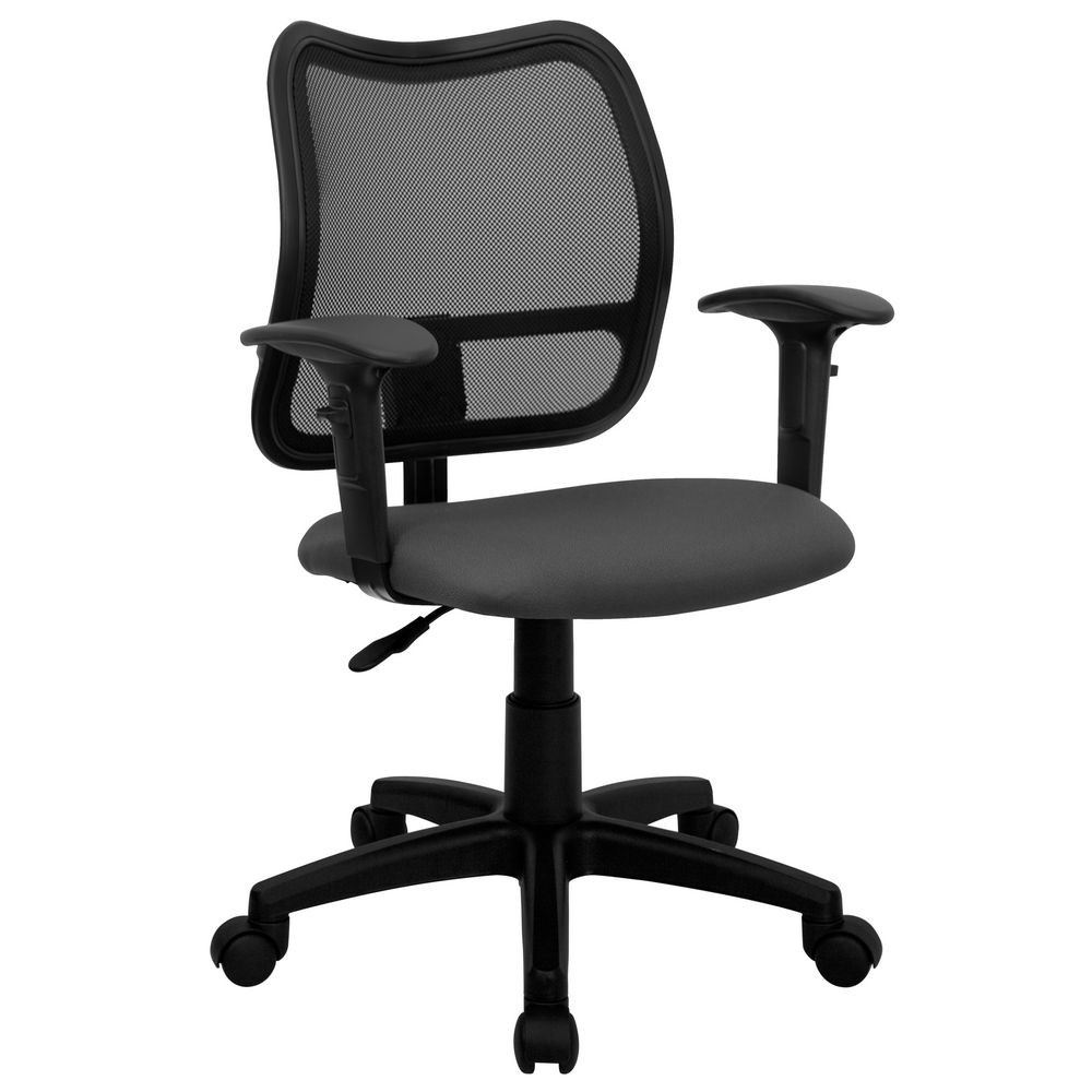 Flash Furniture WL-A277-GY-A-GG Mid-Back Mesh Task Chair with Gray Fabric Seat and Arms