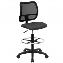 Flash Furniture WL-A277-GY-D-GG Mid-Back Mesh Drafting Stool with Gray Fabric Seat