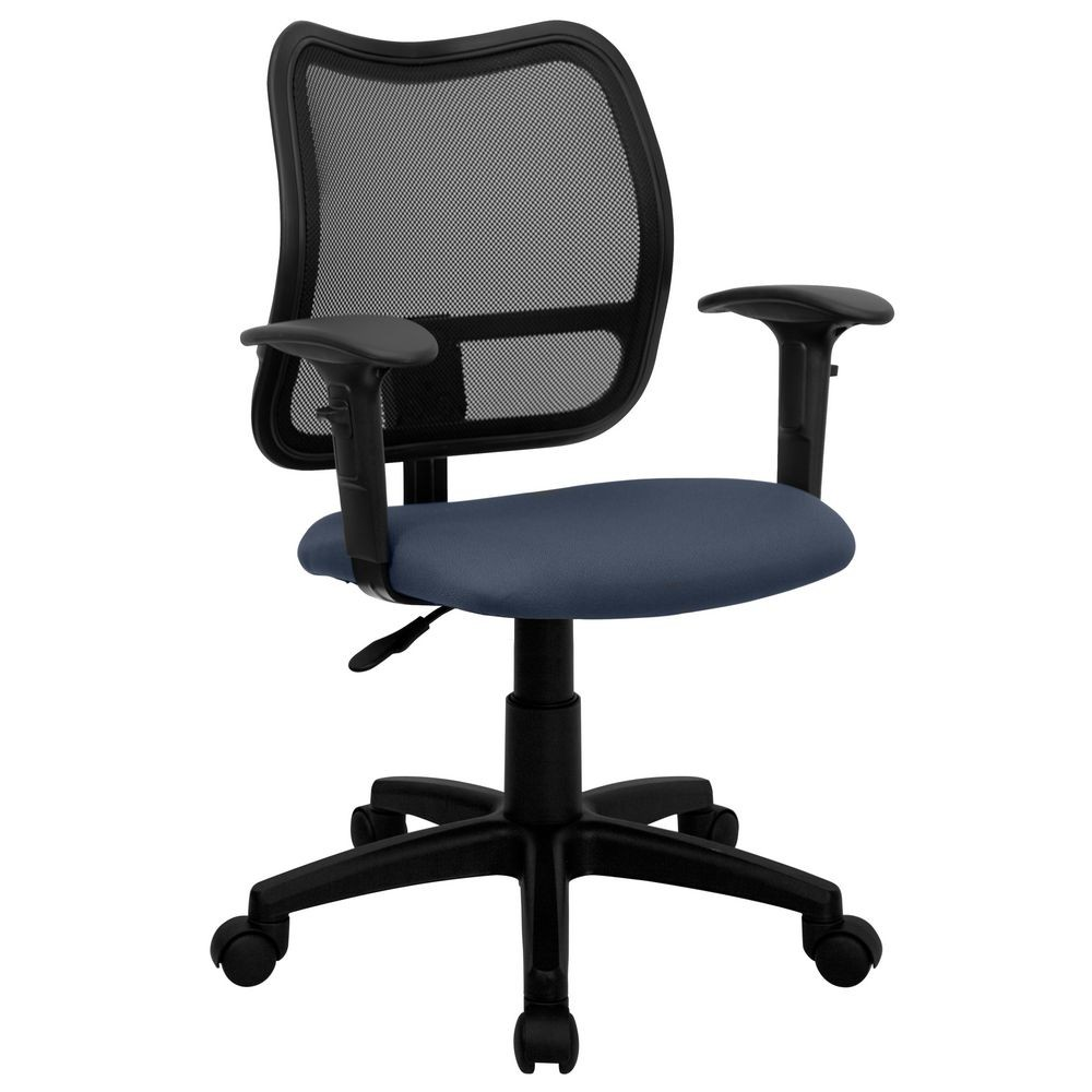 Flash Furniture WL-A277-NVY-A-GG Mid-Back Mesh Task Chair with Navy Blue Fabric Seat and Arms