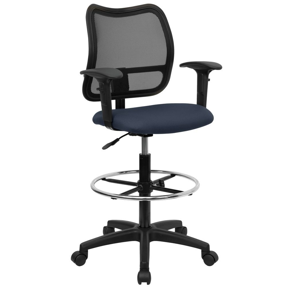 Flash Furniture WL-A277-NVY-AD-GG Mid-Back Mesh Drafting Stool with Navy Blue Fabric Seat and Arms
