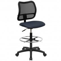 Flash Furniture WL-A277-NVY-D-GG Mid-Back Mesh Drafting Stool with Navy Blue Fabric Seat