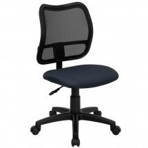 Flash Furniture WL-A277-NVY-GG Mid-Back Mesh Task Chair with Navy Blue Fabric Seat