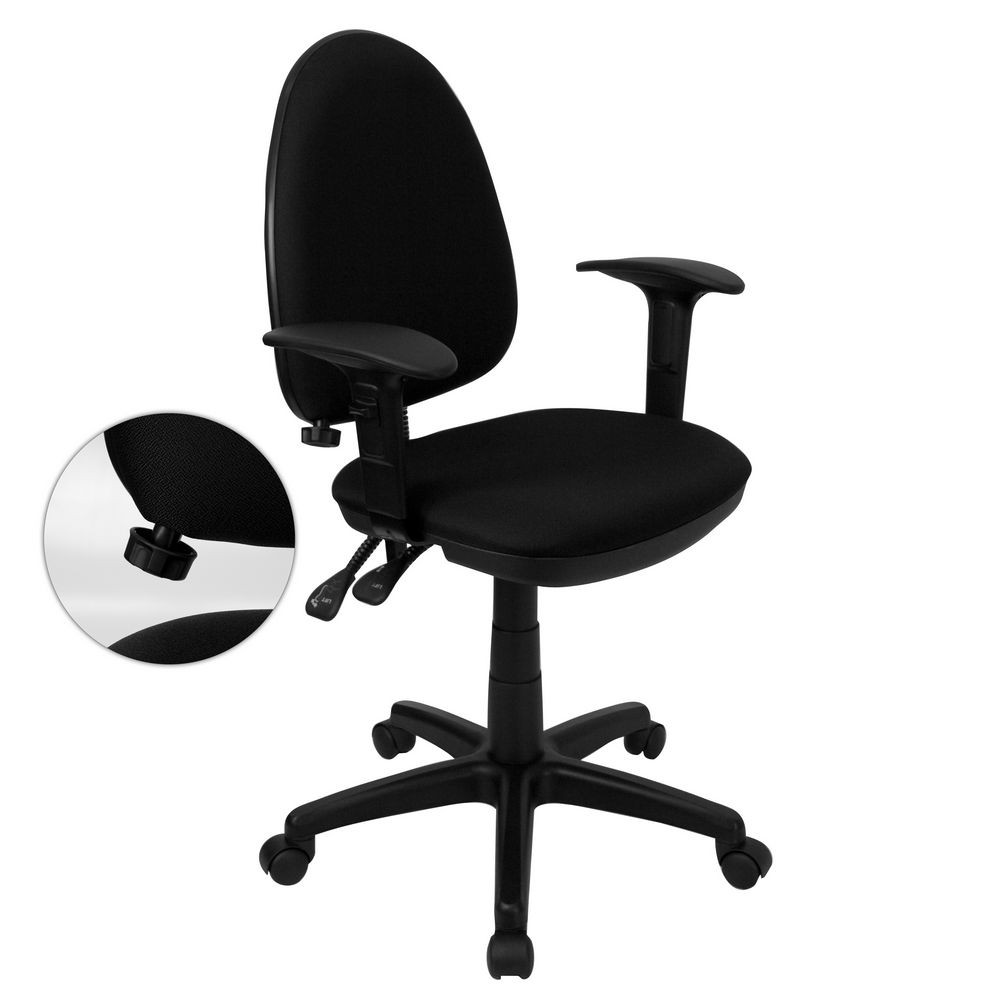 Flash Furniture WL-A654MG-BK-A-GG Mid-Back Black Fabric Multi-Functional Task Chair with Arms and Adjustable Lumbar Support