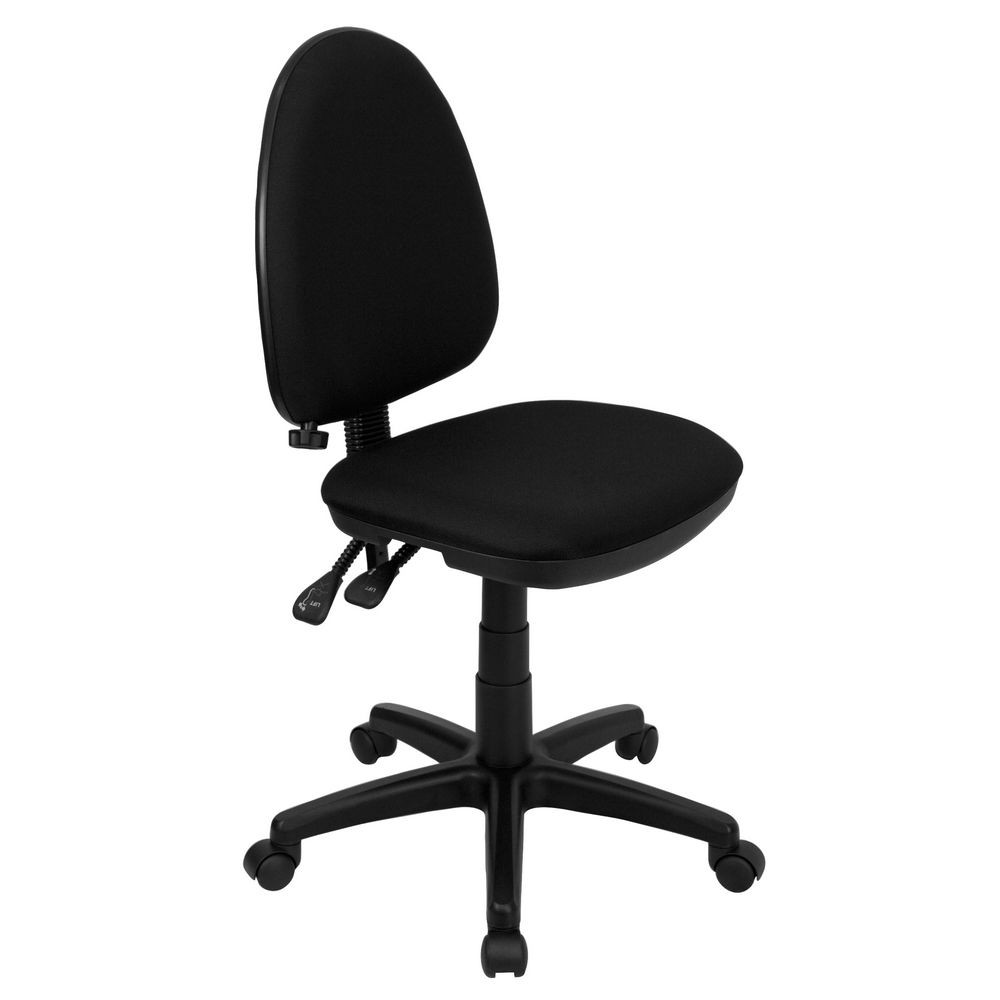 Flash Furniture WL-A654MG-BK-GG Mid-Back Black Fabric Multi-Functional Task Chair with Adjustable Lumbar Support