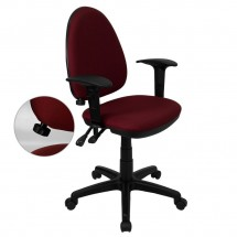 Flash Furniture WL-A654MG-BY-A-GG Mid-Back Burgundy Fabric Multi-Functional Task Chair with Arms and Adjustable Lumbar Support