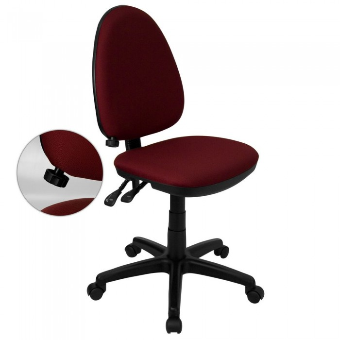 Flash Furniture WL-A654MG-BY-GG Mid-Back Burgundy Fabric Multi-Functional Task Chair with Adjustable Lumbar Support