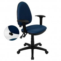 Flash Furniture WL-A654MG-NVY-A-GG Mid-Back Navy Blue Fabric Multi-Functional Task Chair with Arms and Adjustable Lumbar Support