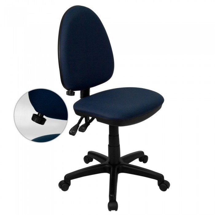 Flash Furniture WL-A654MG-NVY-GG Mid-Back Navy Blue Fabric Multi-Functional Task Chair with Adjustable Lumbar Support