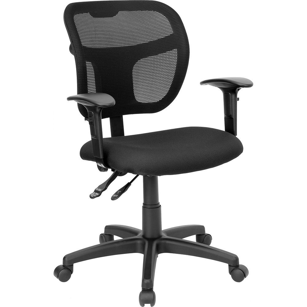 Flash Furniture WL-A7671SYG-BK-A-GG Mid-Back Mesh Task Chair with Black Fabric Seat and Arms