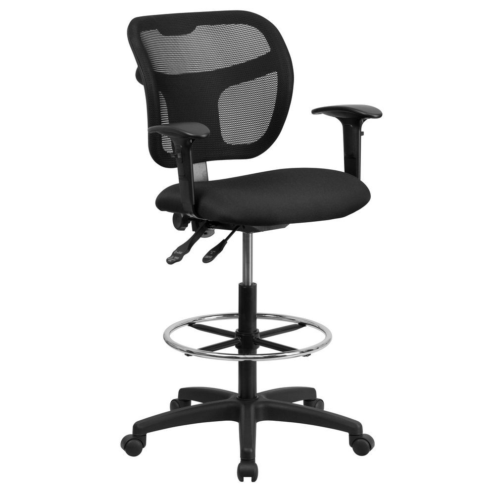 Flash Furniture WL-A7671SYG-BK-AD-GG Mid-Back Mesh Drafting Stool with Black Fabric Seat and Arms