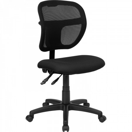 Flash Furniture WL-A7671SYG-BK-GG Mid-Back Mesh Task Chair with Black Fabric Seat