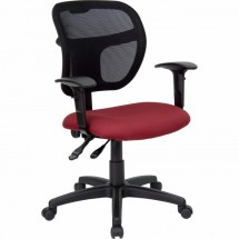 Flash Furniture WL-A7671SYG-BY-A-GG Mid-Back Mesh Task Chair with Burgundy Fabric Seat and Arms