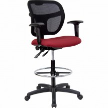 Flash Furniture WL-A7671SYG-BY-AD-GG Mid-Back Mesh Drafting Stool with Burgundy Fabric Seat and Arms