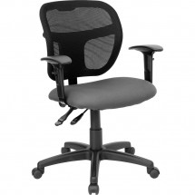 Flash Furniture WL-A7671SYG-GY-A-GG Mid-Back Mesh Task Chair with Gray Fabric Seat