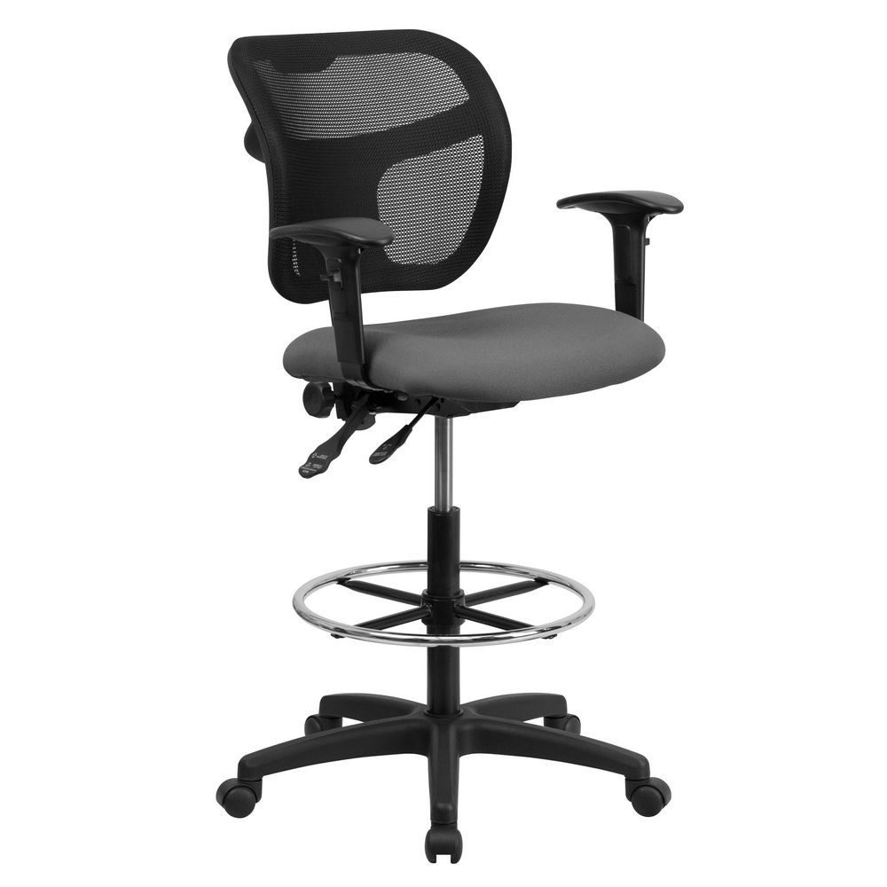 Flash Furniture WL-A7671SYG-GY-AD-GG Mid-Back Mesh Drafting Stool with Gray Fabric Seat and Arms
