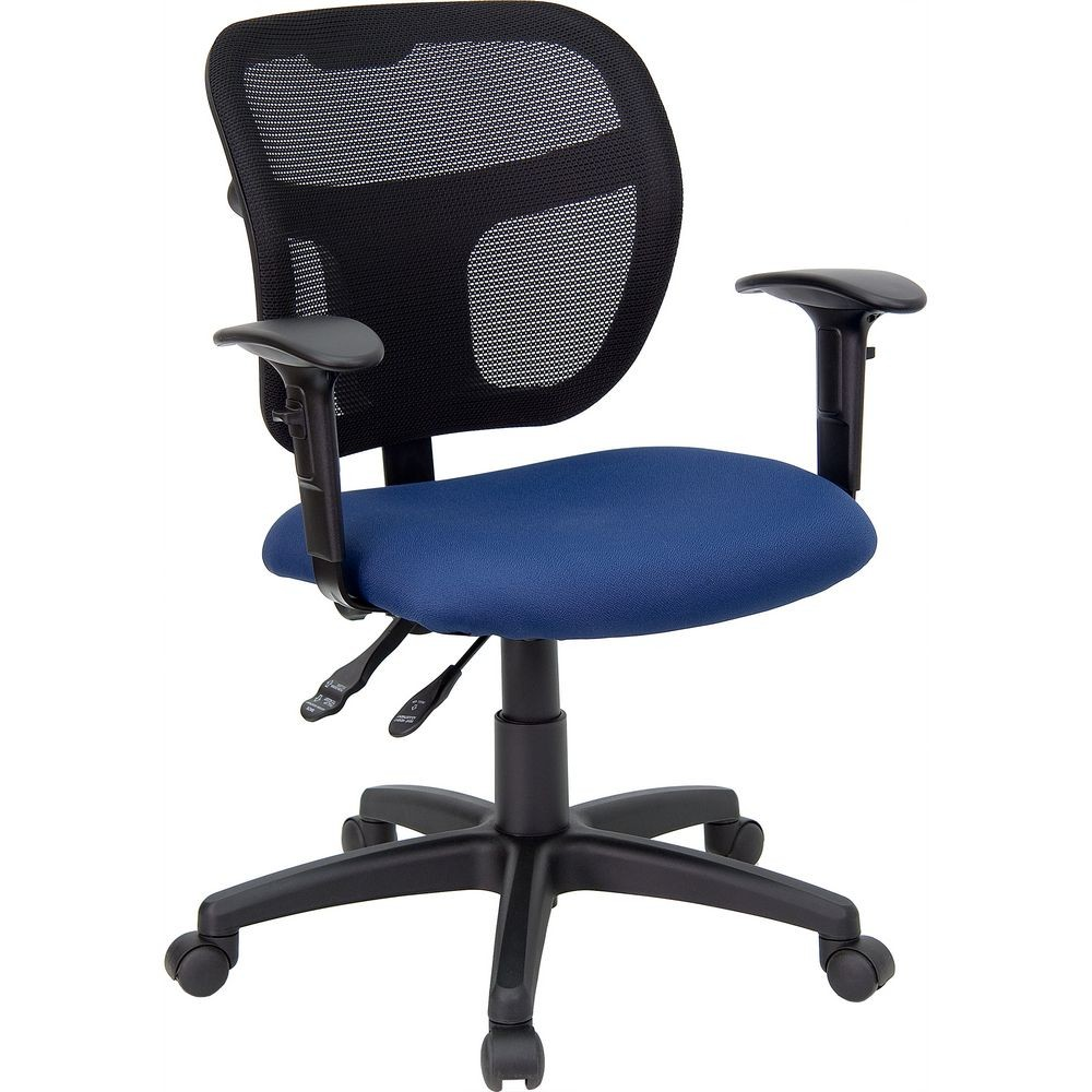 Flash Furniture WL-A7671SYG-NVY-A-GG Mid-Back Mesh Task Chair with Navy Blue Fabric Seat and Arms