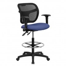 Flash Furniture WL-A7671SYG-NVY-AD-GG Mid-Back Mesh Drafting Stool with Navy Blue Fabric Seat and Arms