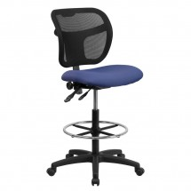 Flash Furniture WL-A7671SYG-NVY-D-GG Mid-Back Mesh Drafting Stool with Navy Blue Fabric Seat