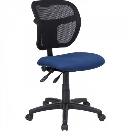 Flash Furniture WL-A7671SYG-NVY-GG Mid-Back Mesh Task Chair with Navy Blue Fabric Seat