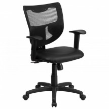 Flash Furniture WL-F061SYG-LEA-A-GG Galaxy Mid-Back Designer Back Task Chair with Adjustable Height Arms, Padded Leather Seat
