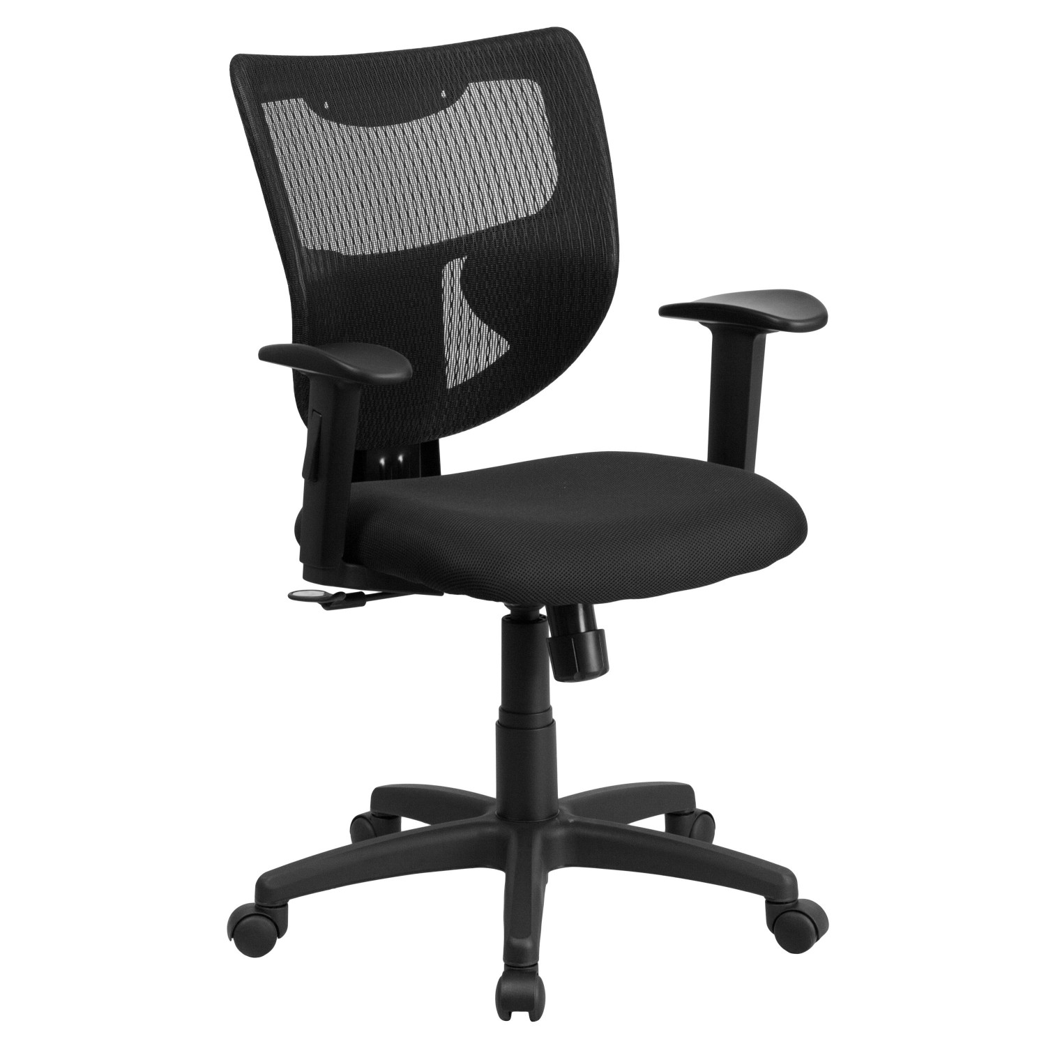 Flash Furniture WL-F061SYG-MF-A-GG Galaxy Mid-Back Designer Back Task Chair with Adjustable Height Arms, Padded Fabric Seat