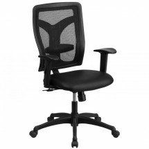 Flash Furniture WL-F062SYG-LEA-A-GG Galaxy High Back Designer Back Task Chair with Adjustable Height Arms, Padded Leather Seat