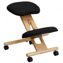 Flash Furniture WL-SB-210-GG Mobile Wooden Ergonomic Kneeling Chair in Black Fabric