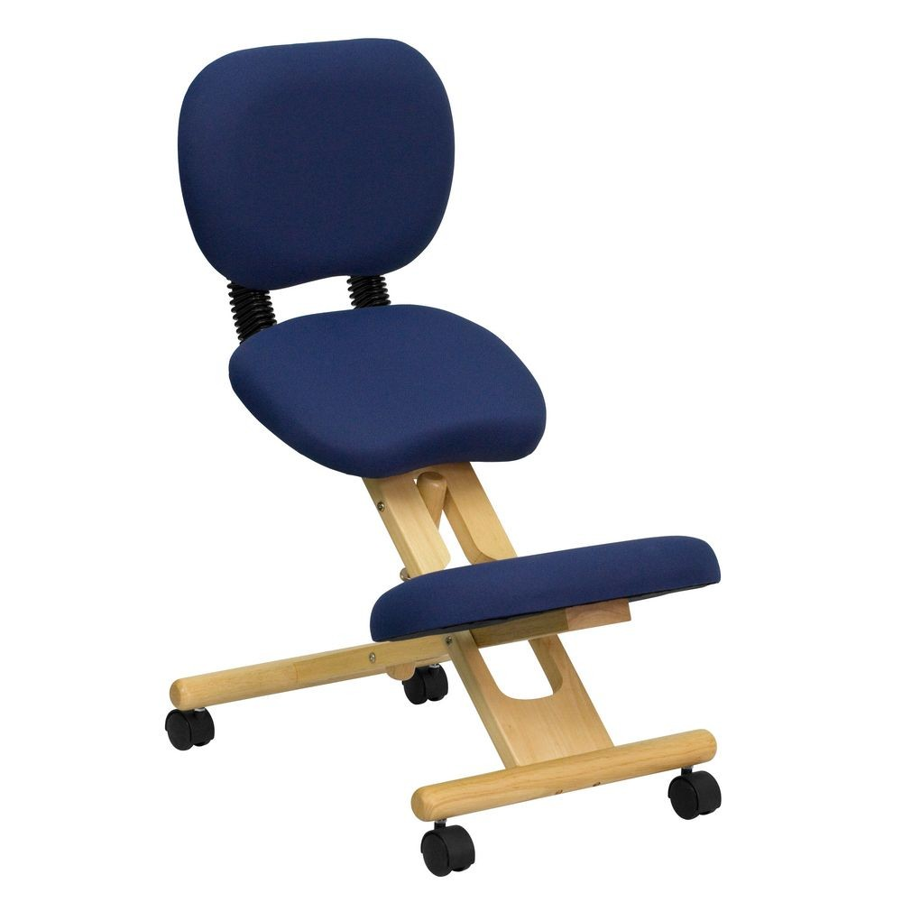 Flash Furniture WL-SB-310-GG Mobile Wooden Ergonomic Kneeling Posture Chair in Navy Blue Fabric with Reclining Back