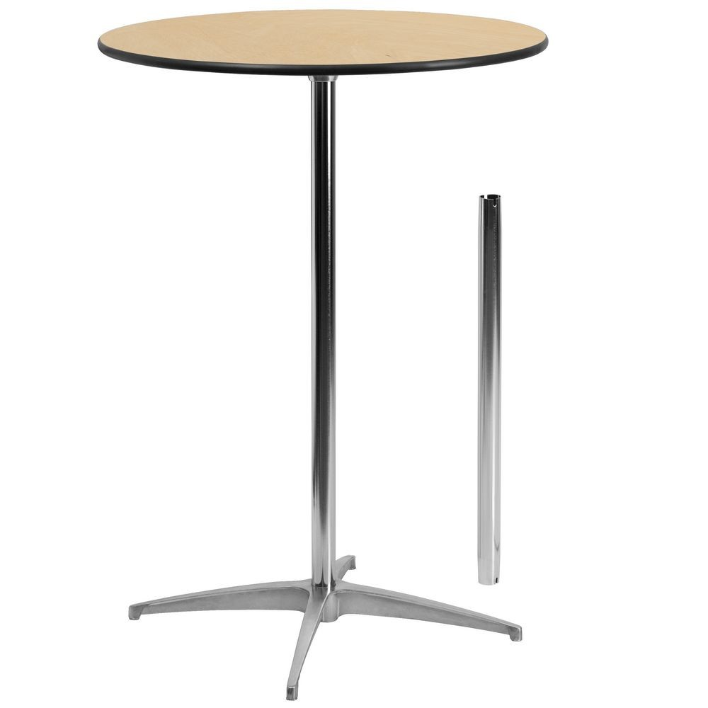Flash Furniture XA-30-COTA-GG 30'' Round Wood Cocktail Table with 30'' and 42'' Columns