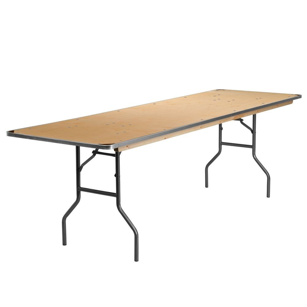 "Flash Furniture XA-3096-BIRCH-M-GG Rectangular Heavy Duty Birchwood Metal Edge Folding Banquet Table with Protective Corner Guards 30"" x 96"""