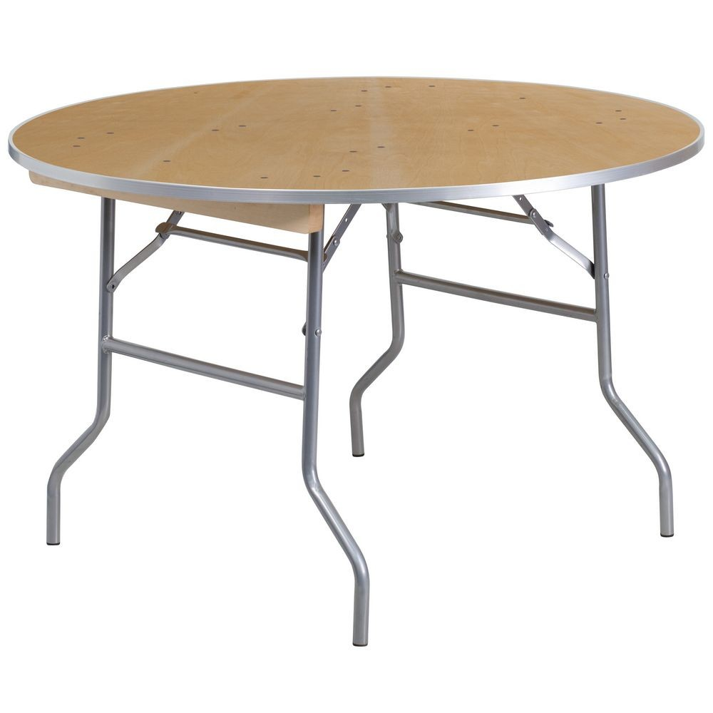 Flash Furniture XA-48-BIRCH-M-GG Round Heavy Duty Birchwood Folding Banquet Table with Metal Edges 48""