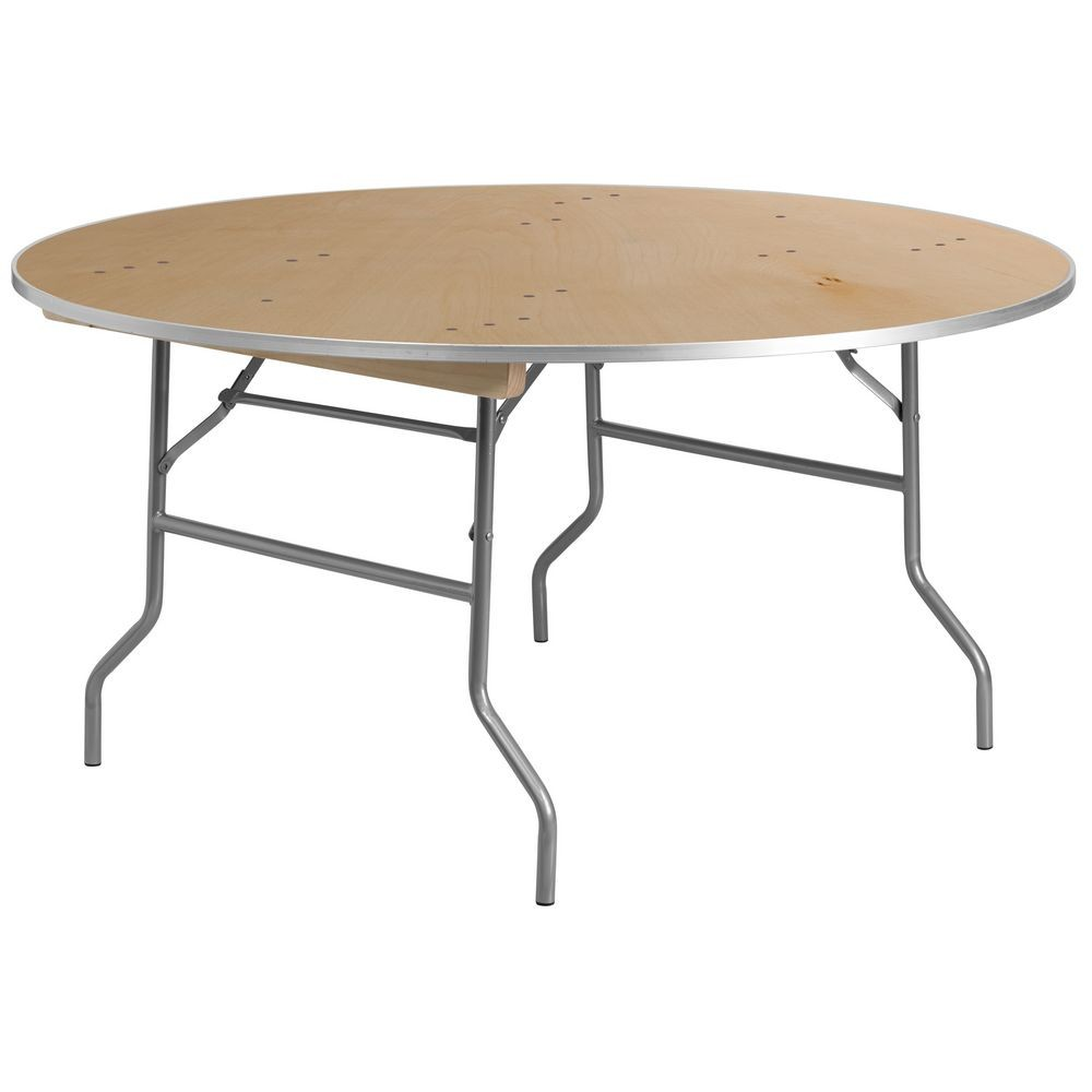 Flash Furniture XA-60-BIRCH-M-GG 60'' Round HEAVY DUTY Birchwood Folding Banquet Table with METAL Edges