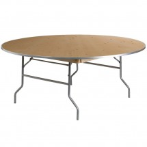 Flash Furniture XA-72-BIRCH-M-GG 72'' Round HEAVY DUTY Birchwood Folding Banquet Table with METAL Edges