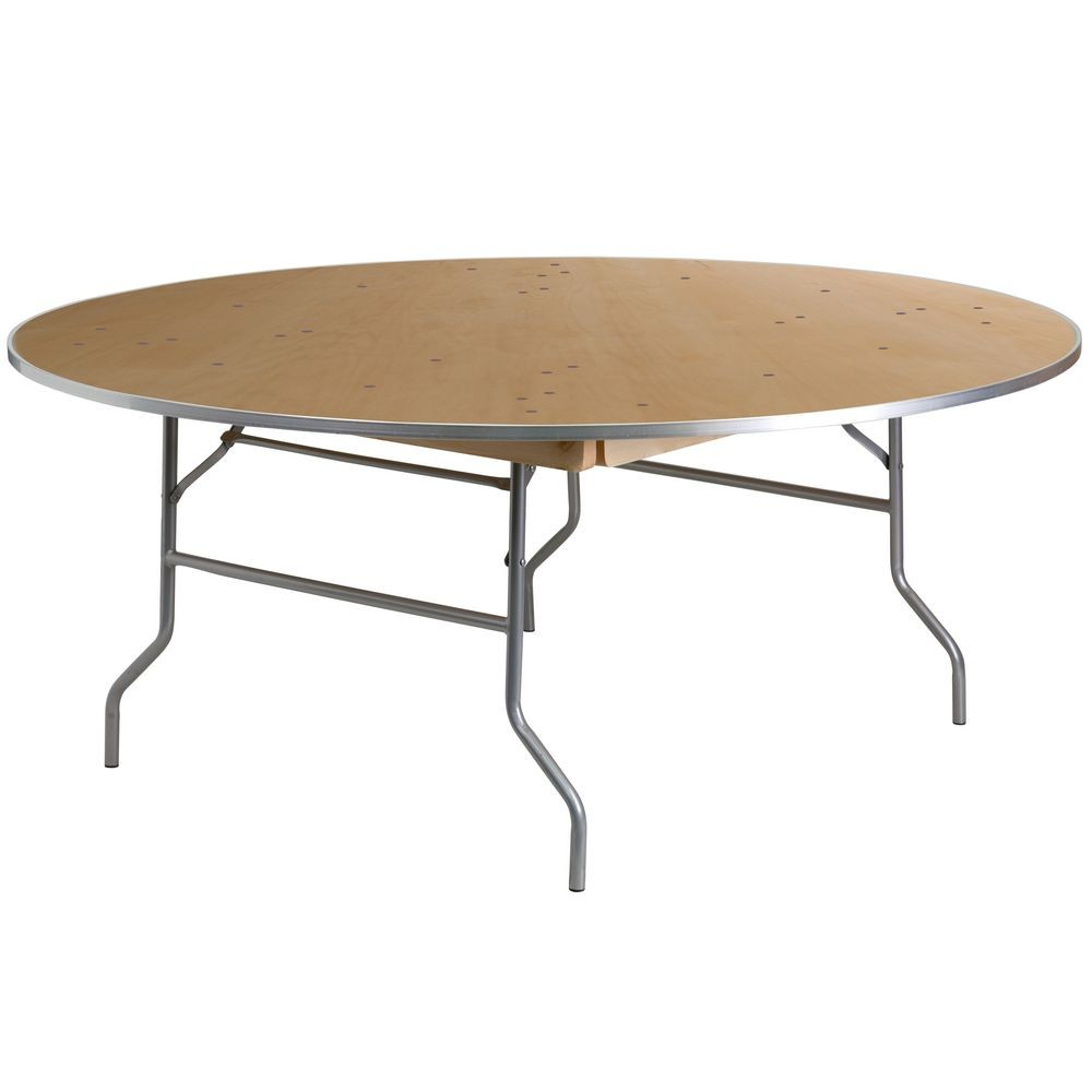 Flash Furniture XA-72-BIRCH-M-GG Round HEAVY DUTY Birchwood Folding Banquet Table with METAL Edges 72""