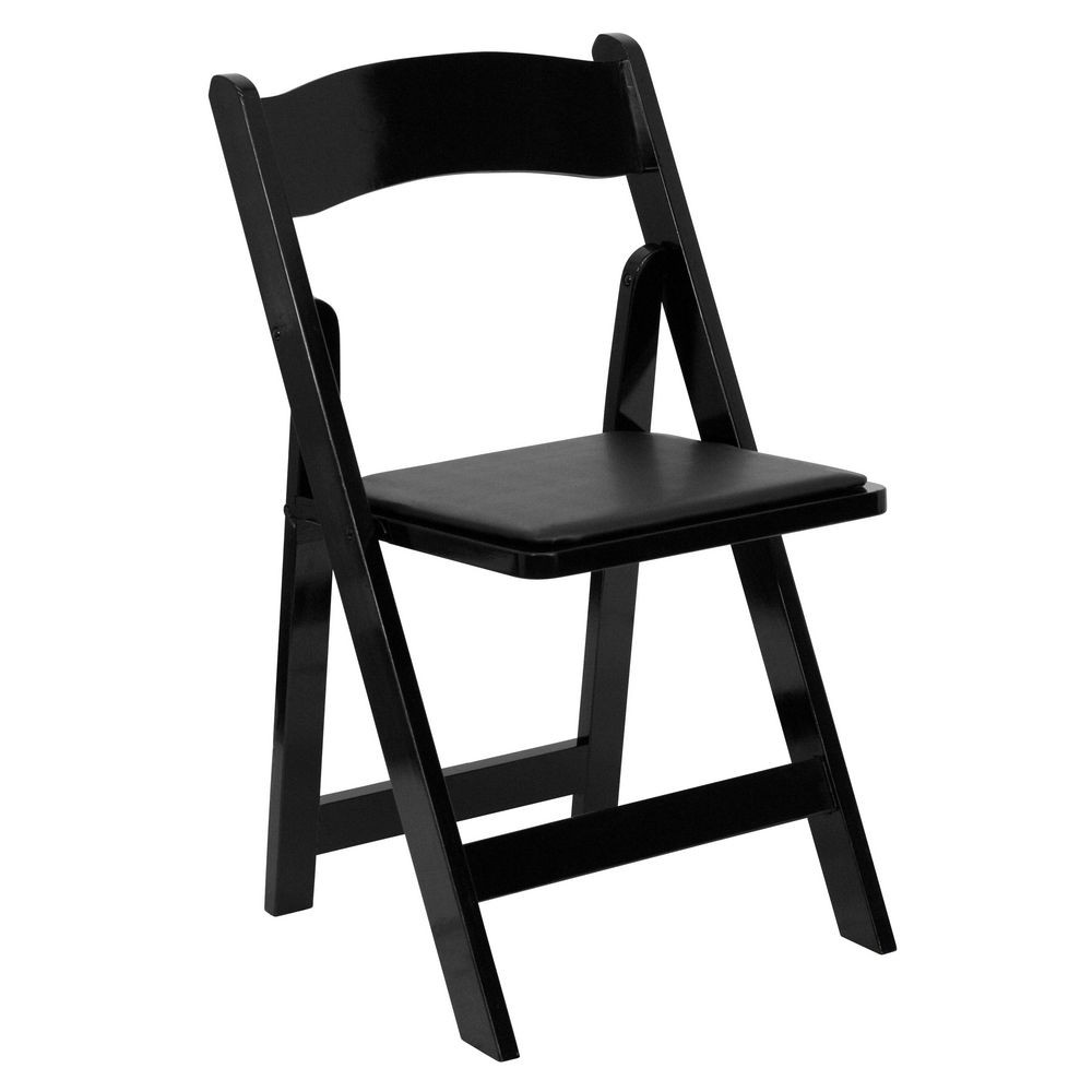 Flash Furniture XF-2902-BK-WOOD-GG HERCULES Series Black Wood Folding Chair with Vinyl Padded Seat