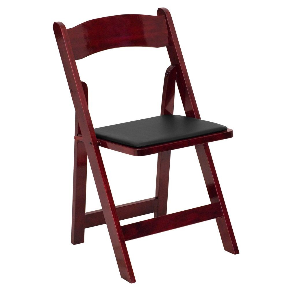Flash Furniture XF-2903-MAH-WOOD-GG HERCULES Series Mahogany Wood Folding Chair with Vinyl Padded Seat