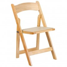 Flash Furniture XF-2903-NAT-WOOD-GG HERCULES Series Natural Wood Folding Chair with Vinyl Padded Seat