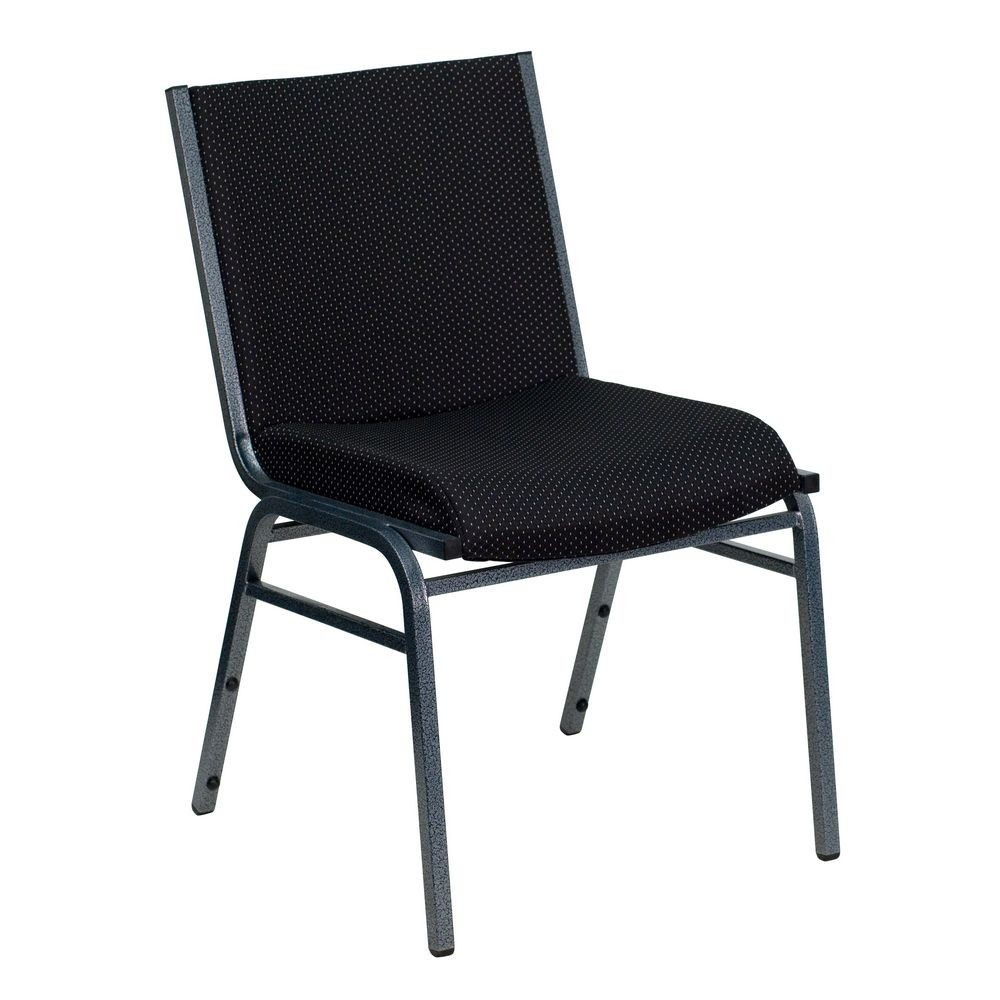 Flash Furniture XU-60153-BK-GG HERCULES Series Heavy Duty 3'' Thick Padded Black Patterned Upholstered Stack Chair
