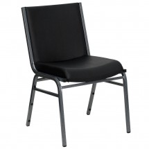 Flash Furniture XU-60153-BK-VYL-GG HERCULES Series Heavy Duty 3'' Thick Padded Black Vinyl Upholstered Stack Chair