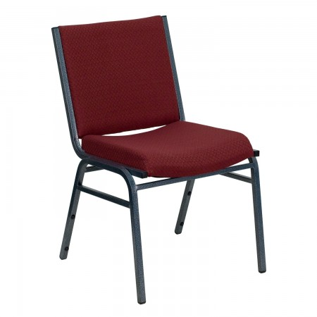Flash Furniture XU-60153-BY-GG HERCULES Series Heavy Duty 3'' Thick Padded Burgundy Patterned Upholstered Stack Chair