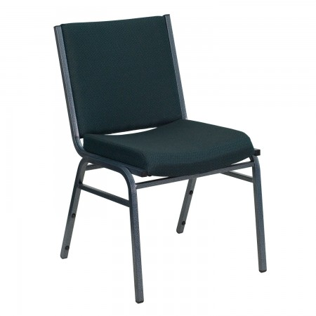 Flash Furniture XU-60153-GN-GG HERCULES Series Heavy Duty 3'' Thick Padded Green Patterned Upholstered Stack Chair