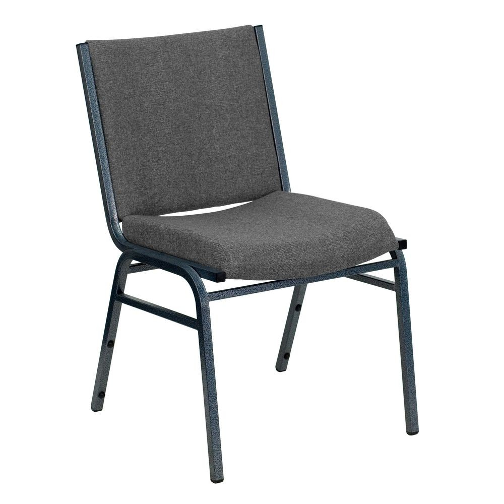 Flash Furniture XU-60153-GY-GG HERCULES Series Heavy Duty 3'' Thick Padded Gray Upholstered Stack Chair