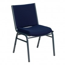 Flash Furniture XU-60153-NVY-GG HERCULES Series Heavy Duty 3'' Thick Padded Navy Patterned Upholstered Stack Chair