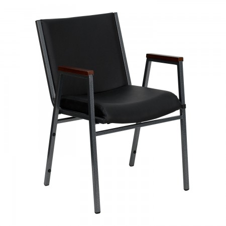 Flash Furniture XU-60154-BK-VYL-GG HERCULES Series Heavy Duty 3'' Thick Padded Black Vinyl Upholstered Stack Chair with Arms