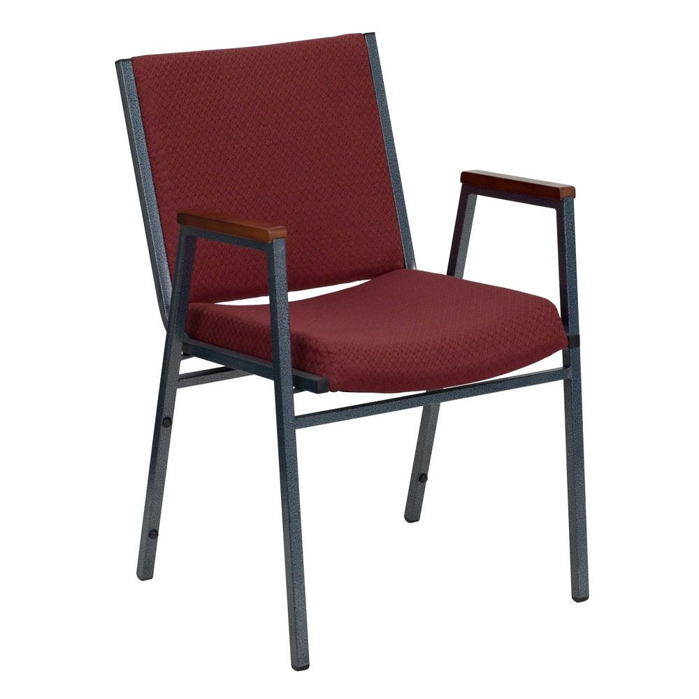 Flash Furniture XU-60154-BY-GG HERCULES Series Heavy Duty 3'' Thick Padded Burgundy Patterned Upholstered Stack Chair with Arms