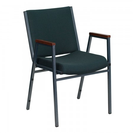 Flash Furniture XU-60154-GN-GG HERCULES Series Heavy Duty 3'' Thick Padded Green Patterned Upholstered Stack Chair with Arms
