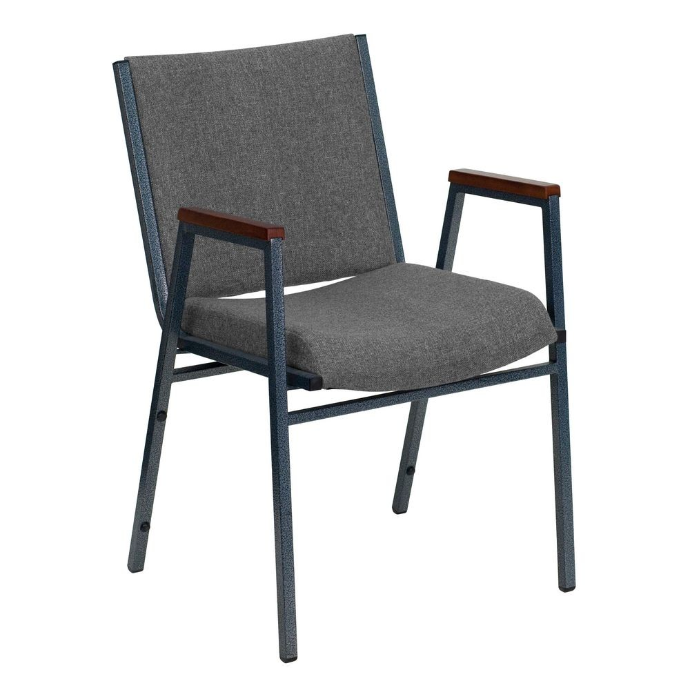 Flash Furniture XU-60154-GY-GG HERCULES Series Heavy Duty 3'' Thick Padded Gray Upholstered Stack Chair with Arms