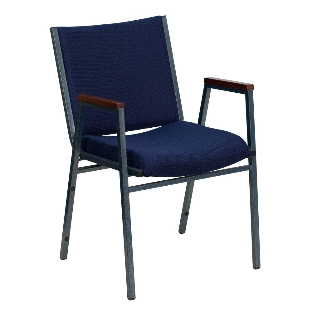 Flash Furniture XU-60154-NVY-GG HERCULES Series Heavy Duty 3'' Thick Padded Navy Patterned Upholstered Stack Chair with Arms
