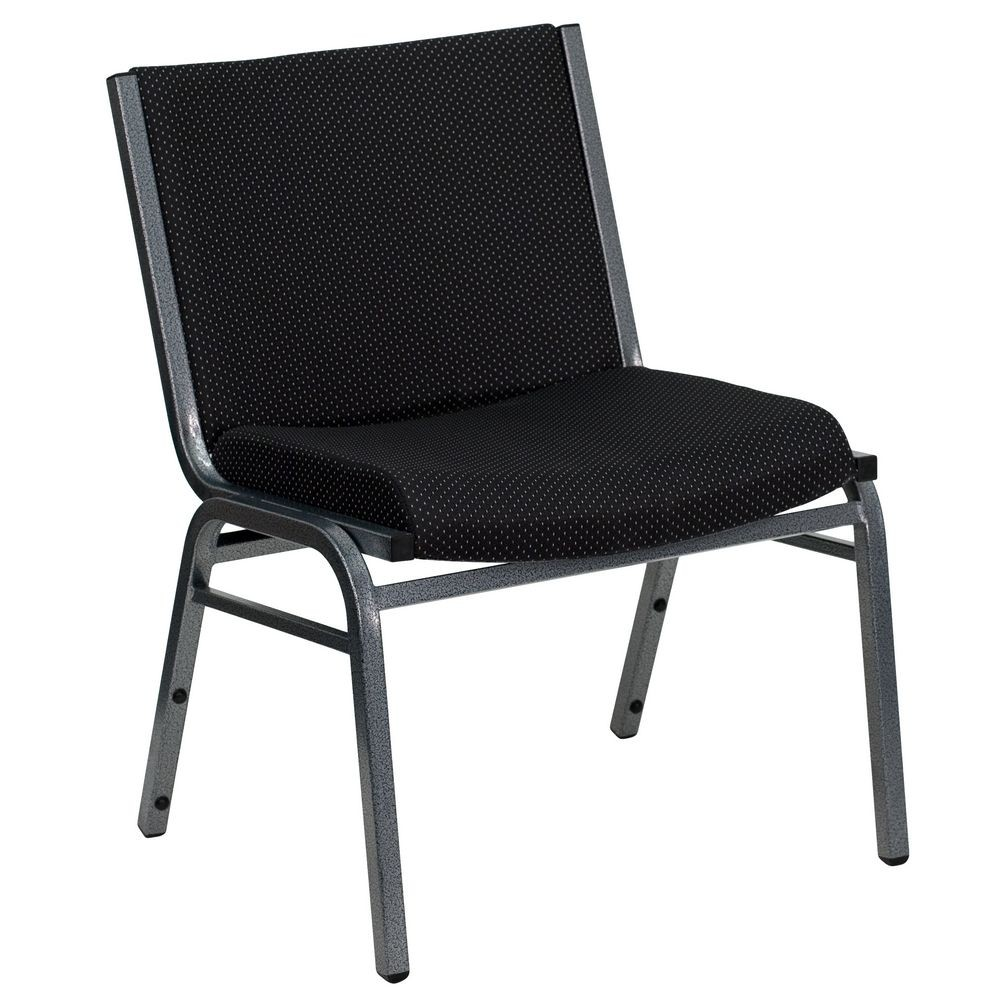 Flash Furniture XU-60555-BK-GG HERCULES Series 1000 lb. Capacity Big and Tall Extra Wide Black Fabric Stack Chair