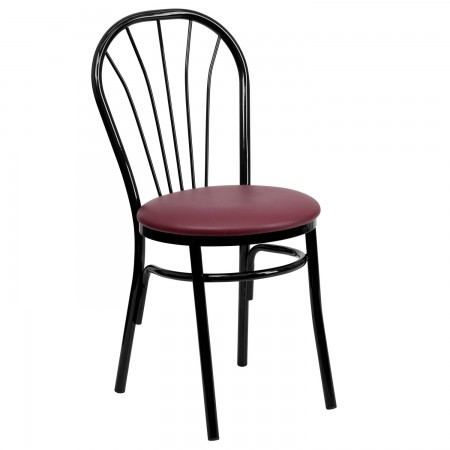 Flash Furniture XU-698B-BGV-GG HERCULES Series Fan Back Metal Chair - Burgundy Vinyl Seat